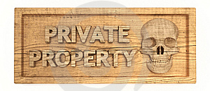 Private Property Wood Sign Stock Image - Image: 15903891