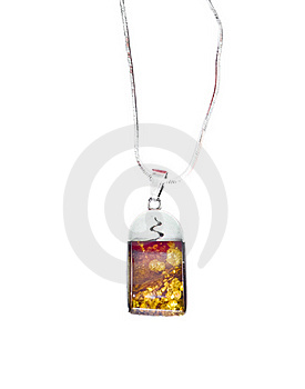 Silver Amber Necklace Isolated Royalty Free Stock Image - Image: 15903996
