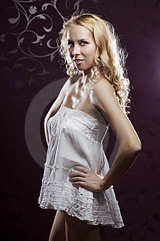 Beautiful Girl On A Dark Background Stock Photos - Image: 15904733