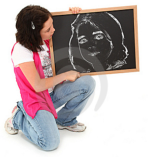 Beautiful Girl With Chalkboard Royalty Free Stock Image - Image: 15904836