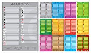 2011 Calendar Royalty Free Stock Photography - Image: 15907747
