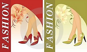 Stylish Female Shoes. Two Compositions For Card Royalty Free Stock Images - Image: 15912409