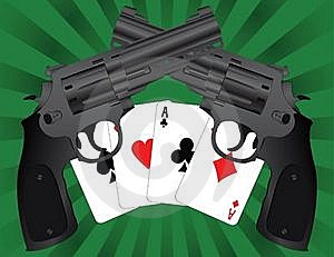 Two Pistols And Aces Stock Image - Image: 15914931
