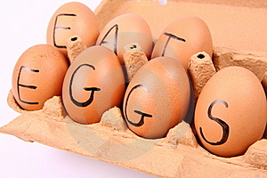 Eggs With An Inscription EAT EGGS Royalty Free Stock Image - Image: 15917446