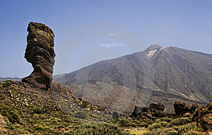 Rock Tree And View On Teide, Tenerife, Spain. Stock Image - Image: 15924391