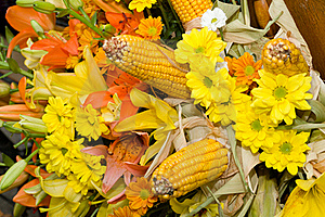 Flowers And Corn Bouquet Stock Image - Image: 15930101
