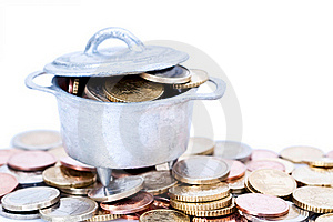 Euro Coins In Cauldron Royalty Free Stock Photography - Image: 15930157