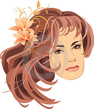 Portrait Of Woman With Bouquet Of Lilies In Hair Royalty Free Stock Photos - Image: 15932088