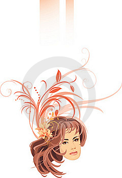 Portrait Of Woman With Lilies In Hair. Banner Royalty Free Stock Photography - Image: 15932097