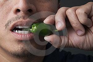 Jalapeno Pepper Bite Stock Photos - Image: 15934183