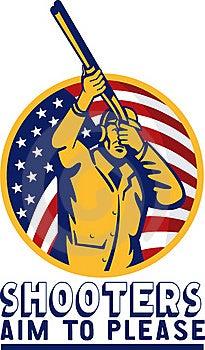Hunter Aiming A Shotgun Rifle Royalty Free Stock Image - Image: 15937696