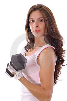 Woman Curling Weights Royalty Free Stock Image - Image: 15943696