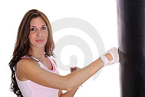 Happy Woman Boxing Royalty Free Stock Images - Image: 15943729