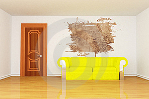 Room With Yellow Couch And Splash Hole Stock Image - Image: 15944541