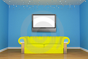 Living Room With Yellow Couch And LCD Tv Stock Photos - Image: 15944643