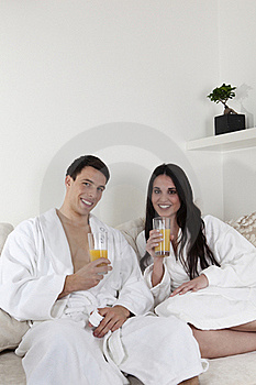Sexy Young Couple In The Morning Having Breakfast Royalty Free Stock Photos - Image: 15946188