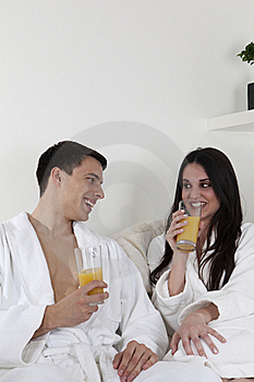 Sexy Young Couple In The Morning Having Breakfast Royalty Free Stock Images - Image: 15946289