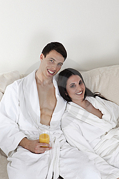 Sexy Young Couple In The Morning Having Breakfast Stock Photos - Image: 15946873