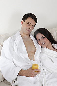 Sexy Young Couple In The Morning Having Breakfast Royalty Free Stock Photography - Image: 15947187