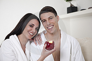 Sexy Young Couple In The Morning With An Apple Stock Image - Image: 15947891