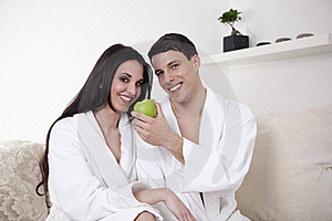 Sexy Young Couple In The Morning With An Apple Stock Image - Image: 15947931