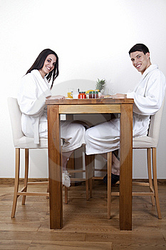 Sexy Young Couple In The Morning Having Breakfast Royalty Free Stock Photo - Image: 15948285
