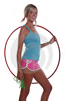 Woman With Hula Hoop And Jump Rope. Stock Images - Image: 15951474