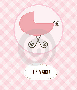 Baby Girl Arrival Announcement Retro Card Royalty Free Stock Photos - Image: 15954418