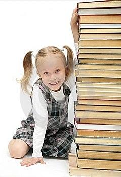Cute Happy Little Schoolgirl Stock Photo - Image: 15956390