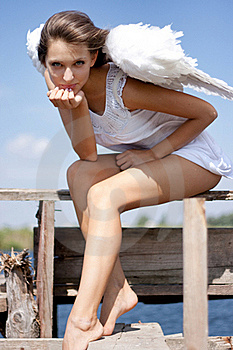 Pretty Woman With Angel Wings Royalty Free Stock Photos - Image: 15956798
