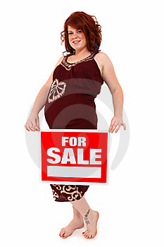 Beautiful Mother To Be With For Sale Sign Stock Photography - Image: 15964612