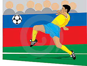 Colored Soccer Player About To Recieve A Pass Royalty Free Stock Image - Image: 15965666