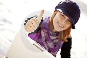 Portrait Of Red-haired Girl With Laptop At Beach. Stock Photography - Image: 15968862