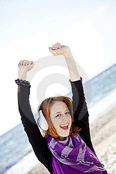 Portrait Of Red-haired Girl With Headphone Royalty Free Stock Image - Image: 15968886