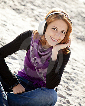 Portrait Of Red-haired Girl With Headphone Stock Photography - Image: 15968892