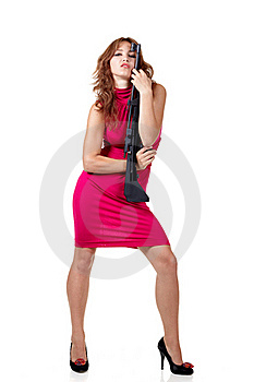 Sexy Action Girl With Gun Royalty Free Stock Photography - Image: 15971387