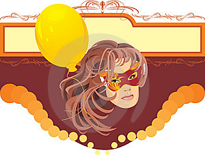 Woman In Masquerade Mask And Yellow Balloon. Card Royalty Free Stock Photos - Image: 15974158