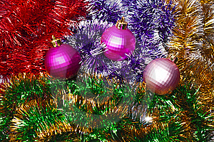 Christmas Balls And Garland Stock Photos - Image: 15977153