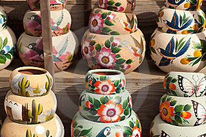 Variety Of Colorfully Painted Ceramic Pots. Stock Photos - Image: 15977363