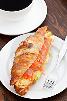 Croissant Filled With Smoked Salmon And Coffee Stock Image - Image: 15980021