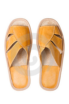 Isolated Yellow Leather Comfortable Slippers Royalty Free Stock Photography - Image: 15980747