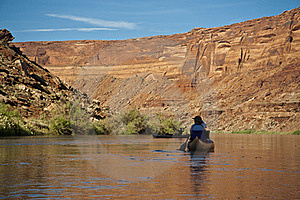 Canoe On A Desert River Royalty Free Stock Images - Image: 15982129