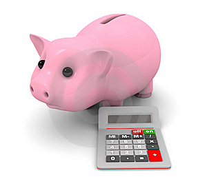 Piggy Bank And Calculator Stock Photography - Image: 15988642