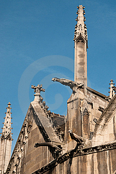 Exterior Detail Of St. Severin Church In Paris Stock Images - Image: 15988654