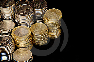 Coins On Black Background Royalty Free Stock Images - Image: 15991039