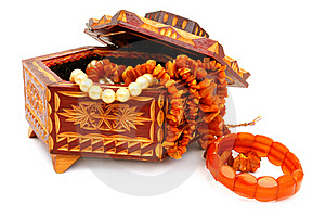 The Wooden Casket And Amber Royalty Free Stock Image - Image: 15993286