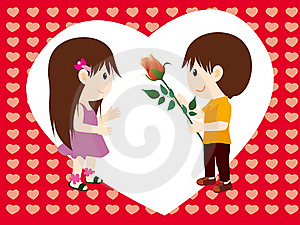 Girl Boy And Rose Royalty Free Stock Images - Image: 15996019