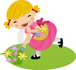 The Girl In Dress With Flowers Basket Royalty Free Stock Images - Image: 15997179