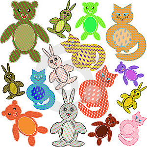 Applications In The Form Of Animals From A Fabric Stock Photography - Image: 15997452