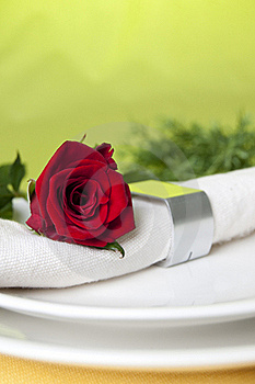 Red Rose And Napkin Stock Images - Image: 15997944
